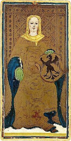 The Empress card from the Visconti-Sforza Tarot deck. DateCirca 1450
