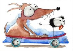 ACEO Original watercolor painting whimsical animals pets dog and crow skateboard #IllustrationArt