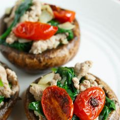 Ground Turkey and Spinach Stuffed Mushrooms Recipe Appetizers, Lunch with coconut oil, portobello caps, onions, ground turkey, baby spinach leaves, grape tomatoes