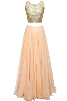 J BY JANNAT Peach sheer embroidered cape lehenga set with sequins crop top