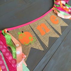 Pink, orange and green fall pumpkin patch first birthday one burlap banner for highchair or photo prop
