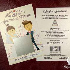 Kaparós sorsjegy meghívó 2. #esküvői #meghívó #nyomtatott #esküvőimeghívó #kaparóssorsjegy #egyedi #wedding #weddinginvitation  #unique #scratchcards #cute #brideandgroom Wedding Cards, Wedding Invitations, Cover, Books, Card Stock, Wedding Ecards, Libros, Wedding Maps, Wedding Invitation Cards