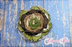 Burlap Flower Headband Olive Green Hair by CrowningPetals on Etsy, $16.50