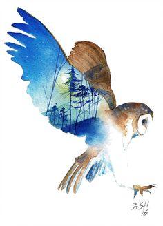 Night traveler by KaritaArt on DeviantArt Owl Watercolor, Watercolor Paintings, Watercolor Owl Tattoos, Watercolors, Owl Art, Bird Art, Illustration Inspiration, Animal Drawings, Art Drawings