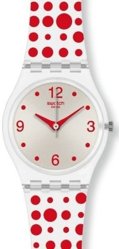 Swatch red polka dot watch
