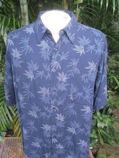 3be03aa5 Hawaiian ALOHA shirt L pit to pit 25 BLUE WATER cotton rayon tropical  foliage | eBay
