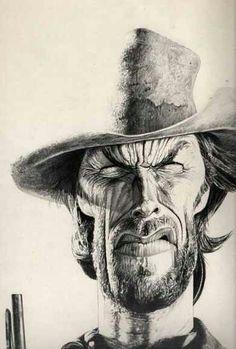 ~ Clint Eastwood by Charles Da Costa ~ Cartoon Faces, Funny Faces, Cartoon Art, Caricature Artist, Caricature Drawing, Funny Caricatures, Celebrity Caricatures, Clint Eastwood, Realistic Cartoons