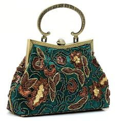 Handmade Beaded Floral Evening Tote Bag Vintage Purse Classic Party Clutch…