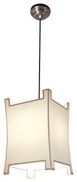 Modern Asian Beige Black Trim Pagoda Pendant Lamp - transitional - Pendant Lighting - Kathy Kuo Home