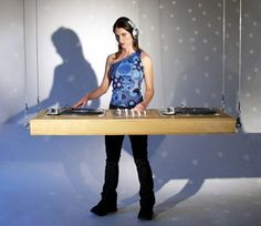 Dream DJ Furniture. Suspended DJ rig. #djculture #djgear #djtools http://www.pinterest.com/TheHitman14/dj-culture-vinyl-fantasy/