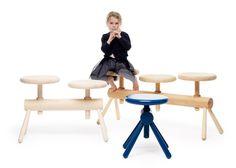 Детская скамейка с винтовыми табуретками