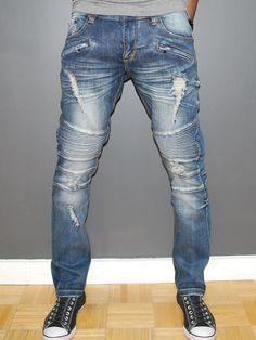 Men Slim Fit Denim Ball Biker Ripped Distressed Jeans - Blue