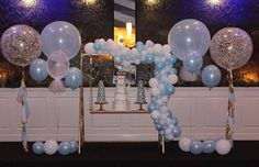 Beautiful set up by @glam_wonderland_ and @lightupeventsmelbourne featuring our confetti and tulle balloons for Piers Christening Incredible cake by @splendidservingscakedesign Spectacular donut towers by @chocolateno5_