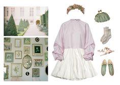 """C'est dur de mourir au printemps, tu sais"" by ineedsomecyanide ❤ liked on Polyvore featuring Her Curious Nature, vintage, paris, mintgreen, lavender and cutesy"
