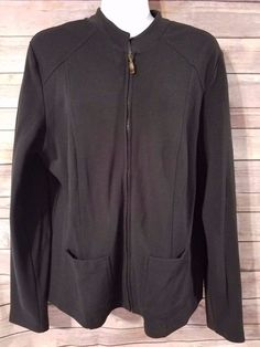 Talbots Womens Medium Jacket Cardigan Black Zip Up  #Talbots #BasicJacket #Casual