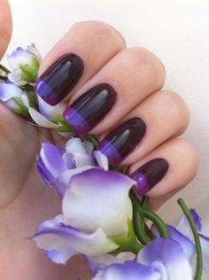 Фиолетово-черный френч шеллак ::: onelady.ru ::: #nail #nails #nailart #manicure