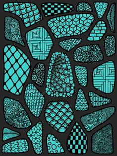 Patterned blue stone floor by Glorya prayer corner for student meditation. Paint draw on rocks stones Tangle Doodle, Zen Doodle, Zentangle Drawings, Ink Drawings, Zentangles, Pattern Art, Pattern Design, Pattern Ideas, Textures Patterns