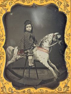 1/4 plate daguerreotype of little boy on a large rocking horse. Possibly by Whipple.