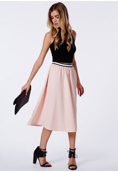 Missguided - Aamina Ribbed Midi Skirt Blush  #MISSGUIDEDAW14 #MISSGUIDED