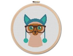 Hipster Cat , Counted Cross stitch, Pattern PDF, Cross Stitch Chart , Cute Cross Stitch, Cross stitch pattern, pixel art, 0209