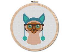 Hipster Cat , Counted Cross stitch, Pattern PDF, Cross Stitch Chart , Cute Cross Stitch, Cross stitch pattern, pixel art, 0209