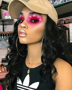 bold pink heart eyes + nude metallic lips | makeup // pinterest: joiespooks