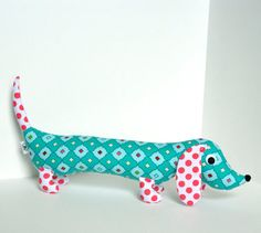 Bright Modern Stuffed Animal Plush Wiener by FriendsOfSocktopus, $28.00