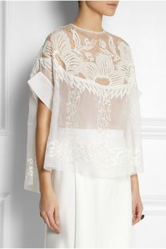 Biyan | Solana embroidered silk-blend organza top | NET-A-PORTER.COM