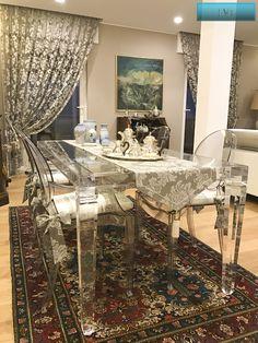Lucite Acrylic dining table - TAVOLI PRANZO IN PLEXIGLAS | Tavolo trasparente in plexiglas LV1   | Tavolo plexiglass cm.180 x 90h.76 - telaio sp.mm.60 - gambe sez.mm.80