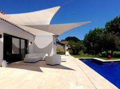 Voile d ombrage blanche pour piscine