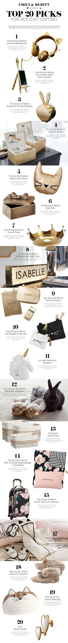 With holiday shopping in full swing, organizing your gifting list is a MUST! We asked designers Emily and Meritt to share their Top 20 Gift Picks that they would like wrapped up underneath their Christmas tree. With a mix of geek-chic and rock n' roll, we think you're going to love what you find!