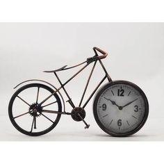 Fleur De Lis Living Bicycle Table Clock | Wayfair Bicycle Clock, Bicycle Quotes, Tabletop Clocks, Metal Clock, Crazy Friends, Bicycle Women, Wood Species, Office Decor, Office Ideas