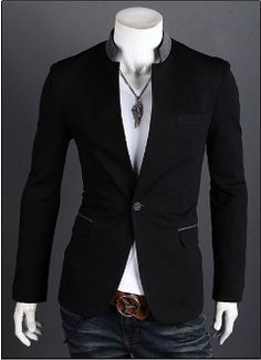 Men Contrasting Mandarin Collar #Blazer