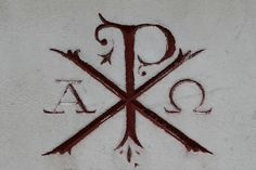 "Used to want a tattoo with ""alpha and omega"". This says ""Chi Rho"" (Jesus Christ- The X and P letters) and ""Alpha Omega"". Pretty sweet, but I don't think I""m brave enough for needles, or anything permanent! Chi Rho Tattoo, Alpha Omega Tattoo, Omega Alpha, Future Tattoos, New Tattoos, Christ In Greek, Catholic Tattoos, Bibel Journal, Christian Tattoos"