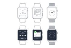 Apple Watch Sketch Wireframe Set