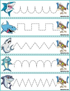 "Trace The Pattern: Sharks & Swimmers Cards. Help your child develop their pre-writing and fine motor skills with ""Trace the Pattern"" printable cards. Print these out, cut them up, and then laminate for use with Expo markers and pens. Rainbow Fish Activities, Shark Activities, 4 Year Old Activities, Fine Motor Activities For Kids, Preschool Activities, Preschool Writing, Preschool Printables, Kids Writing, Preschool Learning"