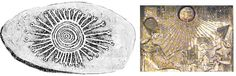 """A la izquierda la conocida como una """"Piedra Tjurunga"""", localizada en Australia Occidental, un símbolo clásico del arte egipcio durante el reinado de Akenatón, donde los rayos solares eran siempre representados con """"pequeñas manos"""" que tocaban a la humanidad. A la derecha la familia de Akenatón es envuelta por los rayos de Atón (el Sol). Obsérvense las pequeñas manos al final de los rayos del Sol en ambas representaciones."""