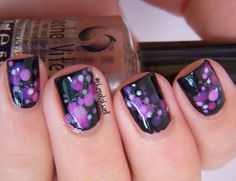 Nail Ideas: purple and pink bokeh dots!