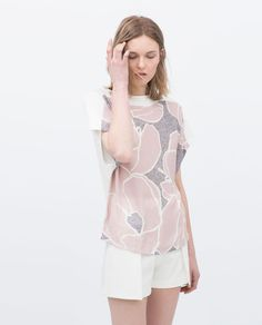Image 3 of LOW-BACK PINK FLOWER T-SHIRT from Zara
