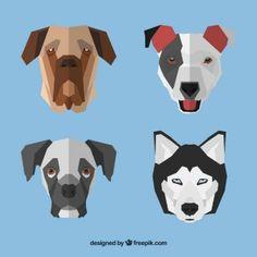 Geometric dog faces