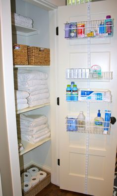 And if you need a little more storage, hang a door organizer on the inside of the closet door.