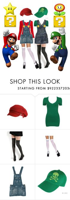 """Mario & Luigi Halloween Costume"" by jess ❤ liked on Polyvore featuring Armani Exchange, Forever 21, Victoria Beckham, Aéropostale, nintendo, super mario bros, halloween costume, mario, red and luigi"