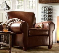 Manhattan Leather Club Chair #potterybarn.  club chair in the dream house.  With a book and a kitty on my lap.