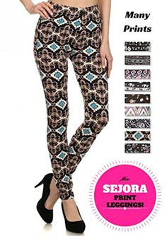 1ce85ae7b5f18 PL15BP063 SEJORA Printed Leggings Full Length Patterned with Designs Medium  Mirani * You can find out more details at the link of the image.