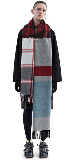 Vivianna oversized, fringed scarf featuring a graphic mix of houndstooth, check and stripe print #AcneStudios #PF15