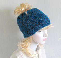 Tube Hat Dreadlocks Headband Wrap Blue Melange by recyclingroom