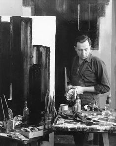 Pierre Soulages in his atelier, 1954 -by Denise Colomb