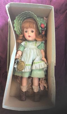 """1930s Madame Alexander 13"""" Flora McFlimsey Composition Doll With Tag In Box 