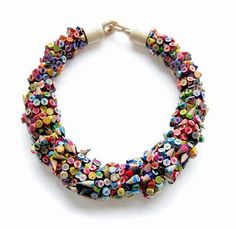 """Using old pencil crayons, Dutch artist and designer Iris Tsante creates gorgeous pieces of wearable art including necklaces, rings and bracelets. The simple, yet colorful and whimsical collection explores what the artist describes as """"….connotations of optimism, lightness, simplicity, joy and innocence, revealing on the same time qualities such as fragility and vulnerability""""."""
