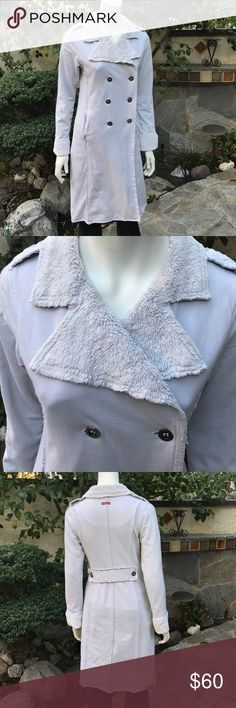 """Hard Tail Cotton Jacket Style No. Ff-04. This is the forever hard tail jacket in light gray. Has a nice plush collar with button front.  40"""" length. Pre-loved condition, as the plush parts show some wear. Hard Tail Jackets & Coats"""